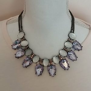 Lavender and Iridescent White Necklace